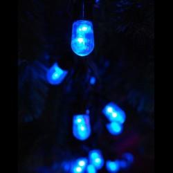 Kültéri Mega LED fényfüzér 20m zöld kábel, 100 kék Mega LED