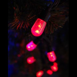Kültéri Mega LED fényfüzér 20m zöld kábel, 100 piros Mega LED