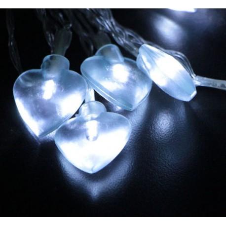 Elemes fehér szív fényfüzér