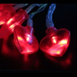 Elemes piros szív fényfüzér