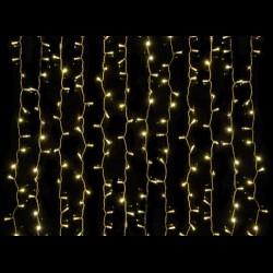 Beltéri LED fényfüggöny 2m x 3m átlátszó kábel, 600 meleg fehér LED