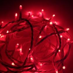 Beltéri LED fényfüzér 10m fehér kábel, 100 piros LED