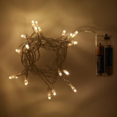 20 melegfehér LED elemes fényfüzér