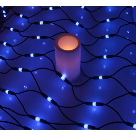 Kültéri LED fényháló 2,5x1,2m zöld kábel, 406 kék LED