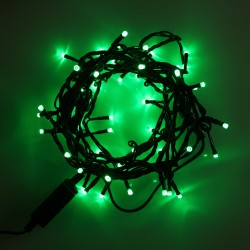 Beltéri LED fényfüzér 5m zöld kábel, 50 zöld LED
