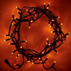 Beltéri LED fényfüzér 5m zöld kábel, 50 amber LED