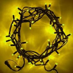 Beltéri LED fényfüzér 5m zöld kábel, 50 sárga LED