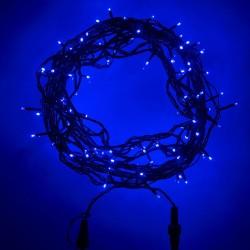 Beltéri LED fényfüzér 20m zöld kábel, 120 kék LED