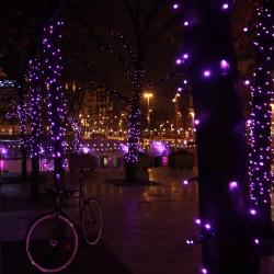 Kültéri LED fényfüzér 10m zöld kábel, 100 pink LED