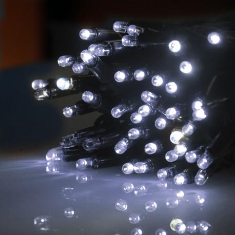 Kültéri FLASH LED (villanó LED-es) fényfüzér 10m zöld kábel, 100 fehér LED, 10 FLASH LED