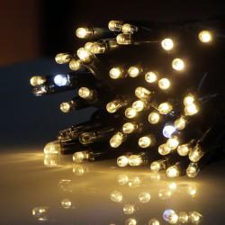 Kültéri villanó sűrű LEDes fényfüzér 10m zöld kábel, 100 meleg fehér LED, 10 villanó