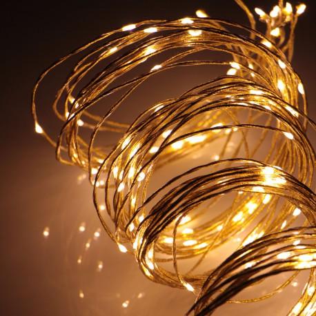 Beltéri arany fényű vezető szálas fényfüzér 1,5m, 180 meleg fehér LED