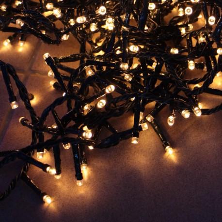 Kültéri extra sűrű LED fényfüzér 14m zöld kábel, 700 meleg fehér LED