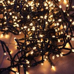 Kültéri extra sűrű LED fényfüzér 24m zöld kábel, 1200 meleg fehér LED