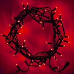 Kültéri LED fényfüzér 10m zöld kábel, 100 piros LED