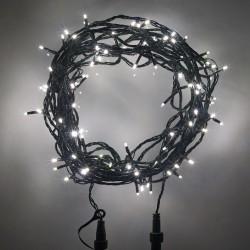 Kültéri sűrű LED fényfüzér 10m zöld kábel, 100 fehér LED