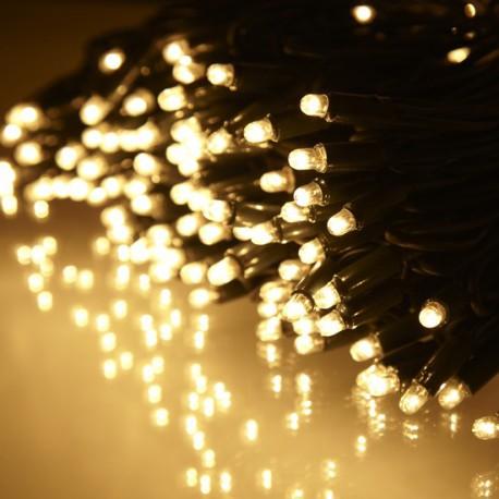 Kültéri sűrű LED fényfüzér 10m zöld kábel, 100 meleg fehér LED