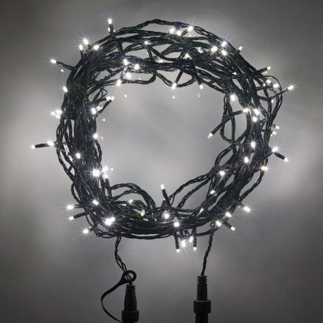 Kültéri LED fényfüzér 10m zöld kábel, 100 fehér LED plusz tag