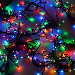 Kültéri extra sűrű LED fényfüzér 8m zöld kábel, 400 színes LED
