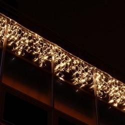 Kültéri LED fényjégcsap 3m x 0,5m zöld kábel, 114 meleg fehér LED
