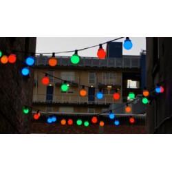 Party fényfüzér, égősor 10m zöld kábel, 20db E27 foglalattal