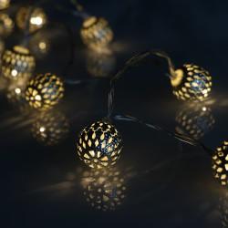 Elemes ezüst metál labda fényfüzér