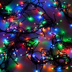 Kültéri extra sűrű LED fényfüzér 24m zöld kábel, 1200 színes LED