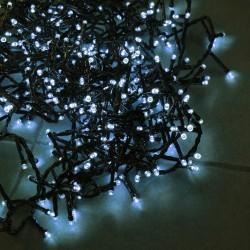 Kültéri extra sűrű LED fényfüzér 8m zöld kábel, 400 fehér LED