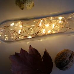 Elemes meleg fehér mikroLED fényfüzér 2m, 20 LED rézdróton