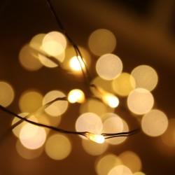 Kültéri meleg fehér mikroLED fényfüzér 10m, 100 LED rézdróton