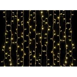 Kültéri LED fényfüggöny 2m x 5m fehér kábel, 1000 meleg fehér LED