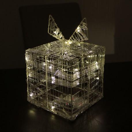 Acryl ajándékdoboz melegfehér microLED fényfüzérrel