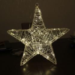 Acryl csillag melegfehér microLED fényfüzérrel