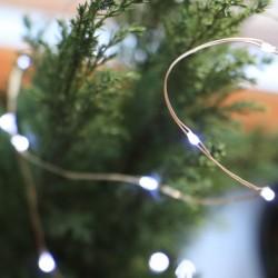 Elemes fehér mikroLED fényfüzér 2m, 20 LED rézdróton