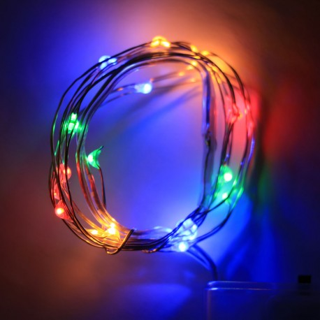 Elemes színes mikroLED fényfüzér 2m, 20 LED rézdróton