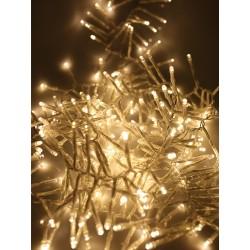 Kültéri extra sűrű LED fényfüzér 16m átlátszó kábel, 800 meleg fehér LED