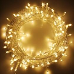 Beltéri Fényfüzér 10m átlátszó kábel, 100 melegfehér LED