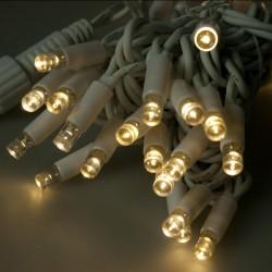Kültéri LED fényfüzér 20m fehér kábel, 120 meleg fehér LED