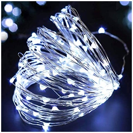 Elemes fehér mikroLED fényfüzér 10m, 100 LED rézdróton