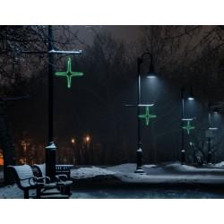 Kiscsillag 4 ágú 55cm zöld LED