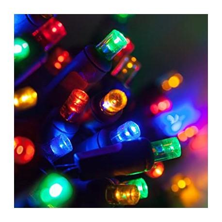 Beltéri LED fényfüzér 10m zöld kábel, 100 színes LED